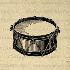 BOGO SALE Vintage Snare Drum Music Digital Image Download Printable Graphic Vintage Art for Transfers Printing etc HQ 300dpi No.1767. $3.50, via Etsy.