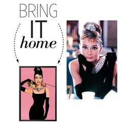 """Bring It Home: Audrey Hepburn Framed Poster"" by polyvore-editorial ❤ liked on Polyvore featuring interior, interiors, interior design, home, home decor, interior decorating and bringithome"