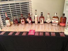 Bourbon tasting party--Bar set up