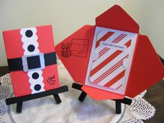 Here is my version of the Santa Suit Gift Card Holder I have been seeing on Pinterest.  I used a    5 1/2