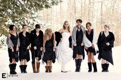 Inverno Nevoso Sposa e damigelle d'onore Foto ♥ Wedding Funny Christmas ♥ Foto Matrimonio Fotografia reale