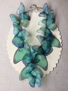 Aquamarine Morpho Handmade Silk Organza Butterflies and