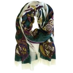 "The scarf is crafted from 100% polyester, hand wash only! It measures approximately 80"" long and 42"" wide. It is ideal for knotting in various styles. This Celtic scarf is crafted by Patrick Francis located in Co. Dublin, Ireland."