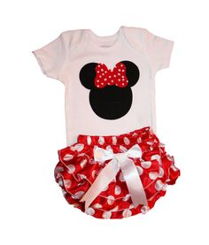 Disney Minnie Mouse Baby Girl Outfit Onesie and Matching Ruffle Diaper Cover… Disney Babys, Baby Disney, Disney Baby Clothes Girl, Disney Onesies, Cute Kids, Cute Babies, Baby Kids, Baby Girl Fashion, Kids Fashion