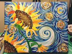Art Sherpa tutorial The Moon The Sun And The Stars Moon And Sun Painting, Star Painting, Summer Painting, Acrylic Painting Canvas, Watercolor Paintings, Arte Yin Yang, The Art Sherpa, Canvas Art Quotes, Sunflower Art