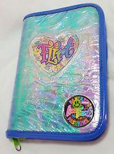 Vintage Lisa Frank Planner Mini Binder Flirt Heart Zip Blue Sparkle Iridescent