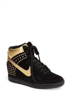 Nike 'Dunk Sky Hi' black metallic gold Wedge Sneaker (Women) available at Nike Outlet, Shoes Outlet, Cute Athletic Outfits, Cute Gym Outfits, Nike Dunks, Wedge Sneakers, Sneakers Nike, Sneakers Style, Black And Gold Sneakers