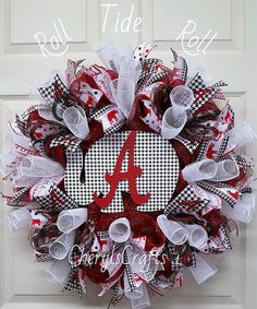 Alabama Mesh Wreath,Bama Wreath,Alabama Crimson Tide Wreath,University of Alabama Wreath,Alabama Wreath by CherylsCrafts1 on Etsy
