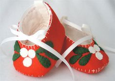 Christmas Booties  Red Wool Felt Mistle by HeartStringsHandmade, $25.00
