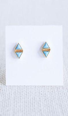 Katie Diamond Turquoise Double Triangle Studs