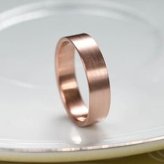 Eco-friendly Men's 14k Gold Wedding Band 5mm x 1.25mm - Handmade eco-friendly recycled 14k yellow, rose, or white gold ring - Minimal Basic