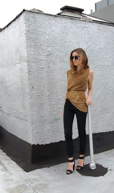 DIY Givenchy Bungee Leather Belt, Worn with Raquel Allegra Tee, BDG Skinny Jeans, H Shoes, Vintage Sunglasses | DeSmitten