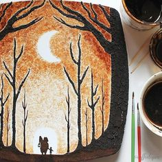He uses leftover drops from his morning coffee.  Artist Creates Watercolor Coffee Art On Leaves | Mental Floss