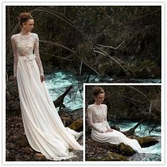 Find More Wedding Dresses Information about long sleeve wedding dress 2014 appliques see through chiffon floor length married dresses scoop NT 137,High Quality dress grey,China dress soft Suppliers, Cheap dress passion from Suzhou Amy wedding dress co., LTD on Aliexpress.com