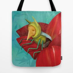 Cricket in a poppy Tote Bag by Krisztina Maros - $22.00