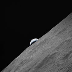 The rising earth seen from the moon.