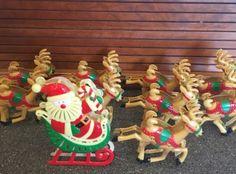 vintage hard plastic santa his reindeer christmas light covers set of nine - Lead Free Christmas Lights