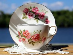 Gainsborough Cup and Saucer, Vintage English Teacup, Bone China Cups, Pink Roses 13174