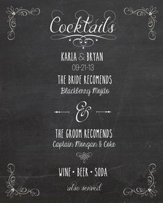 Chalkboard Wedding Cocktail Menu Printable by TotallyLoveItDesigns, $15.00