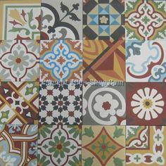 Gạch bông CTS - Mẫu gạch bông tổng hợp – Patchwork tông đỏ nâu | Gạch bông - Vietnam Encaustic Cement Handmade Tiles