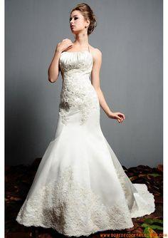 Robe sirène 2013 avec traîne broderies appliques robe de mariée satin