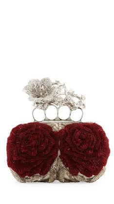 Brand New Alexander McQueen Beaded Flower Knuckle Box Clutch Bag | cynthia reccord | PRE-ORDER