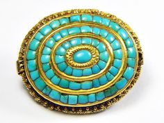 SUPERB ANTIQUE VICTORIAN ANGLO-INDIAN 22K GOLD TURQUOISE PAVE BROOCH c1840