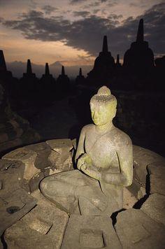 ✮ A statue of Buddha, Borobudur, Java Island
