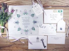 Bespoke hand illustrated invitation set  match by PrintmadeStudio