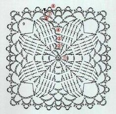 Transcendent Crochet a Solid Granny Square Ideas. Inconceivable Crochet a Solid Granny Square Ideas. Appliques Au Crochet, Crochet Motifs, Granny Square Crochet Pattern, Crochet Blocks, Crochet Diagram, Crochet Chart, Crochet Squares, Crochet Stitches, Granny Squares