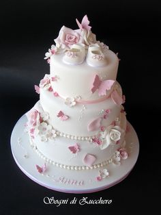Butterflies and roses. The shoes can go Girly Cakes, Cute Cakes, Baby Christening Cakes, Bolo Barbie, Torta Baby Shower, Baby Girl Cakes, Butterfly Baby Shower, Butterfly Cakes, Butterflies