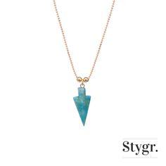 Turkoois Arrow Necklace - Gold. Stygr. - Handmade Designs.   www.stygr.com