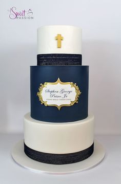 "This masculine first communion cake was inspired by a beautiful cake done by ""Caking it Up."" The simple lines, gold details and custom plaque make for an elegant combination!  www.asweetpassion.com"