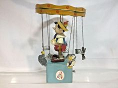 Jouets Creations Of France Pinocchio Windup Carousel Music Box Pinocchio Disney, Wooden Puppet, Howdy Doody, Wooden Hand, Tin Toys, Carousel, Unique Art, 1950s, Creations