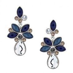 Butterfly by Matthew Williamson Designer mixed blue stone chandelier earring- at Debenhams.com