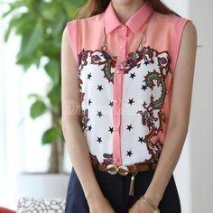 Fashion Women Chiffon Floral Print Tops Blouses Lapel Large Size Shirt New