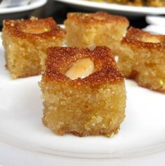 Hareeseh - Semolina Cake | Made with 1.5 Kg Semolina, 1 Kg Sugar, 0.5 Kg Yoghurt, 1.5 ltrs water, 1 tbsp Baking Powder, Peeled Almonds or coarsly crushed pistachios and Sugar Syrup