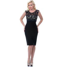 Unique Vintage Black & Nude Lace Cocktail Wiggle Dress #uniquevintage, #retro, #pinup