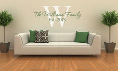 Family Name Vinyl Wall Decal - Established Year Last Name Decal - Family Monogram Established Date - Name and Initial Vinyl Wall Decal