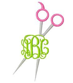 Split Scissors for Monogram : Machine Embroidery Design