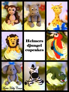 Jungle animals - Monkey, Hippo, Giraffe, Lion, Elephant, Zebra, Crocodile & Parrot.