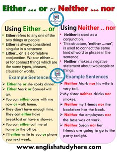 Using Either & or & Neither & nor in English & English Study Here Using [& The post Using Either & or & Neither & nor in English & English Study Here appeared first on Trending Hair styles. English Speaking Skills, Teaching English Grammar, English Vocabulary Words, Learn English Words, English Language Learning, English Study, Education English, English Lessons, English English