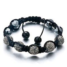 Pugster Unisex Crystal Disco Ball Friendship Bracelets Adjustable (Gray)Crystal Swarovski Crystal Stone Balls Bracelet (36 COLORS TO CHOOSE FROM) Pugster. $55.59