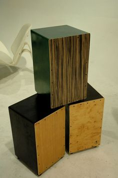 Locally handcrafted cajon, made from 100 percent recycled materials. This is a popular percussion instrument used as a drum.