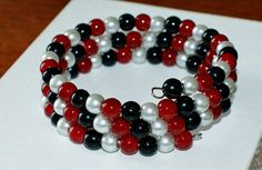 Wrap Bracelet Red White & Black Czech Glass by ThePerfectJewel4u, $15.00