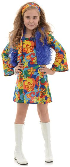 Ravishing Far Out Child Disco Costume. Huge Range Hippie Costumes for Halloween, Birthday, New year at PartyBell. Halloween Costumes For Girls, Girl Costumes, Adult Costumes, 1970s Costumes, Costume Ideas, Children Costumes, Halloween Ideas, Disco Theme, Disco Party