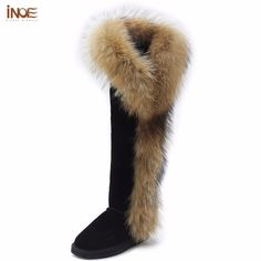 e1dde0722c INOE real fox fur over the knee thigh suede long winter snow boots for  women real