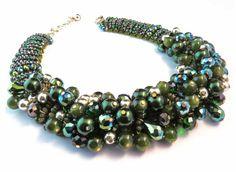 Chunky Cluster Necklace Green Statement by crystaljemscouk on Etsy