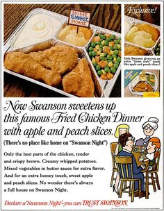 Swanson TV dinner vintage ad, circa 1966. In the 1960s, with a growing number of women working outside the home, a culture of convenience flourished. #conveniencefoods