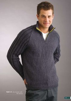 This is an easy raglan sweater to knit using 1 x 1 rib, stocking stitch and 3 x 3 rib